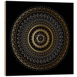 Wood  Mandala gold/silver