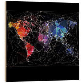 Wood print  Triangular World Map