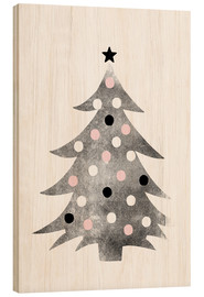 Wood print  Polka-dot Christmas tree - Ohkimiko
