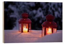 Wood print  Red lanterns in the snow - Christian Müringer