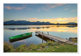 Premium poster  Sunset at Hopfensee in Allgäu, Bavaria - Michael Valjak