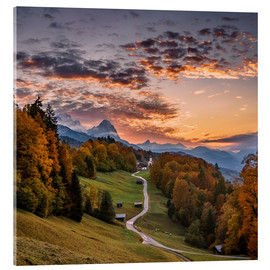 Acrylic print  Sunset over the Zugspitze Mountain, Bavaria, Germany - Achim Thomae