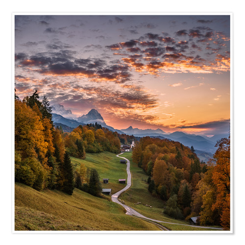 Premium poster Sunset over the Zugspitze Mountain, Bavaria, Germany