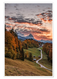 Premium poster Sunset over Zugspitze Mountain, Bavaria