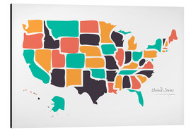 Alu-Dibond  USA map modern abstract with round shapes - Ingo Menhard