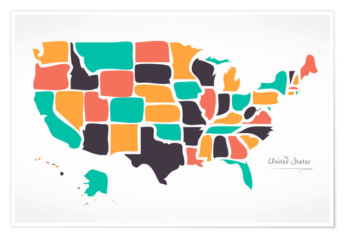 Poster USA map modern abstract with round shapes