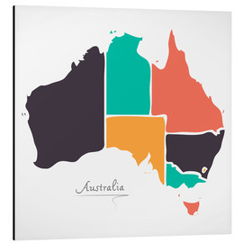 Aluminium print  Australia map modern abstract with round shapes - Ingo Menhard