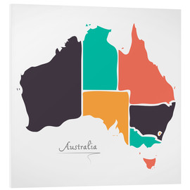 Foam board print  Australia map modern abstract with round shapes - Ingo Menhard
