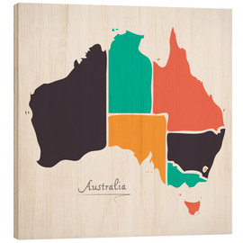 Wood print  Australia map modern abstract with round shapes - Ingo Menhard