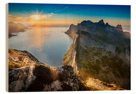 Wood print  View from Beautiful Segla Mountain, Senja, Norway - Markus Ulrich