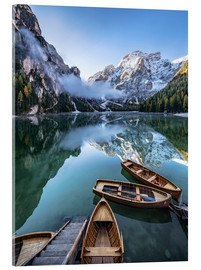 Acrylic glass  Early morning on Lake Braies, Dolomites - Achim Thomae
