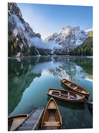 Foam board print  Early morning on Lake Braies, Dolomites - Achim Thomae