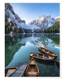 Premium poster  Early morning on Lake Braies, Dolomites - Achim Thomae
