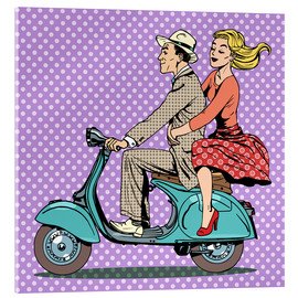Acrylic print  Couple on a scooter