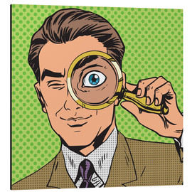 Aluminium print  Detective with magnifying glass