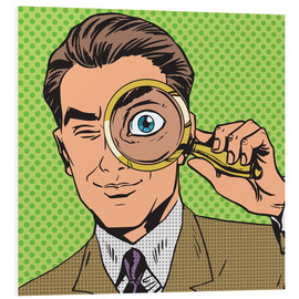 Foam board print  Detective with magnifying glass