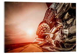 Acrylic print  Boot on a motorcycle pedal