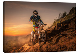 Canvas print  Enduro rider climbing a slope