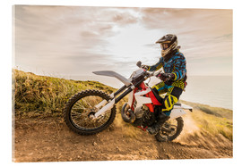 Acrylic print  Enduro rider on the coast