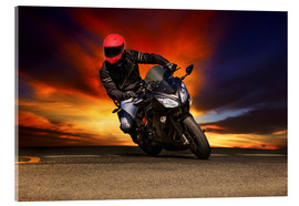 Acrylic print  Motorcyclist in a curve