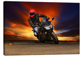 Canvas print  Motorcyclist in a curve