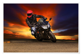 Premium poster Motorcyclist in a curve