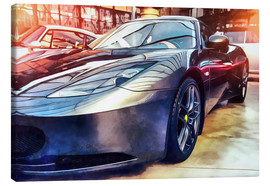 Canvas  Sports car with reflecting surface