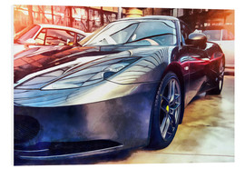 Foam board print  Sports car with reflecting surface