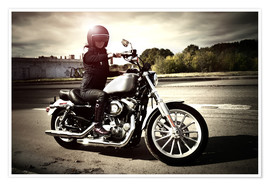 Premium poster  Biker girl on her motorcycle