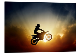 Acrylic print  Biker jumping at sunset