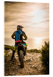 Acrylic print  Enduro racer on the coast