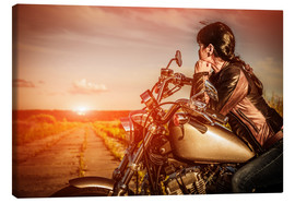 Canvas print  Biker girl on her motorcycle
