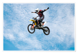Motorcycle racer jumping