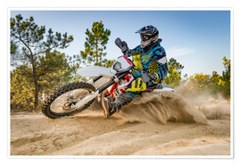 Poster  Enduro biker on sand terrain