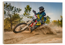 Wood print  Enduro biker on sand terrain