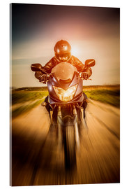 Acrylic print  Biker racing on the road