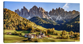 Canvas  Funes in the Dolomite Alps in autumn, South Tyrol - Italy - Achim Thomae