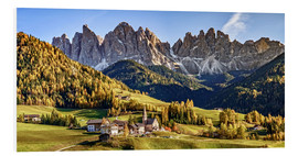 Foam board print  Funes in the Dolomite Alps in autumn, South Tyrol - Italy - Achim Thomae