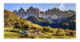 Premium poster  Funes in the Dolomite Alps in autumn, South Tyrol - Italy - Achim Thomae