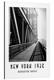 Aluminium print  Historic New York, Manhattan Bridge - Christian Müringer