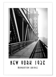 Premium poster Historic New York, Manhattan Bridge