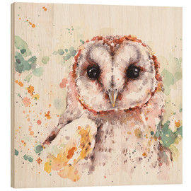 Wood print  Barn Owl - Sillier Than Sally