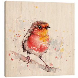 Wood print  Adventure awaits (robin red breast) - Sillier Than Sally