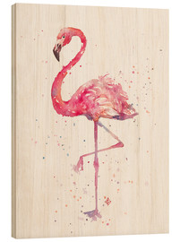 Wood print  A Flamingos Fancy - Sillier Than Sally
