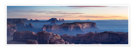 Premium poster Panoramic sunrise over Monument Valley Tribal park, Arizona, USA