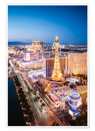Premium poster  Eiffel tower on the Strip at night, Las vegas, Nevada, USA - Matteo Colombo