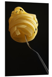 Foam board print  Raw tagliatelle on a fork