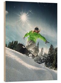 Wood print  Snowboarder on a slope