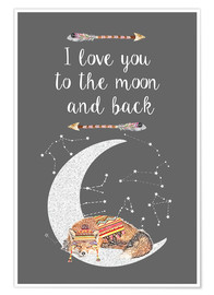Premium poster  I love you to the moon and back - GreenNest
