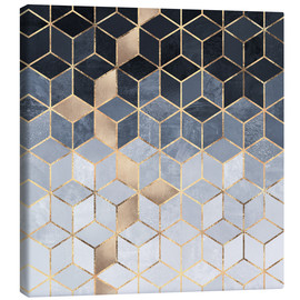 Canvas  Soft Blue Gradient Cubes - Elisabeth Fredriksson